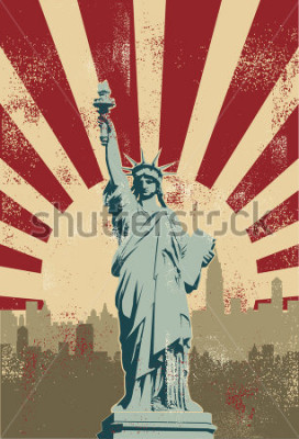 Poster Statue of Liberty, New York City, vector