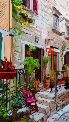 Poster Street, em Roma - ilustração
