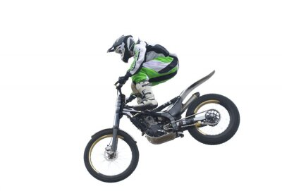 Poster Stunt rider Freestyle isolado no branco.
