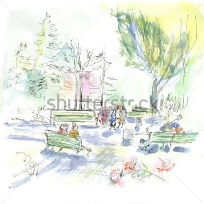 Poster Summer park, sketch, watercolor