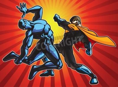 Poster Super herói e um ninja fazendo a batalha.