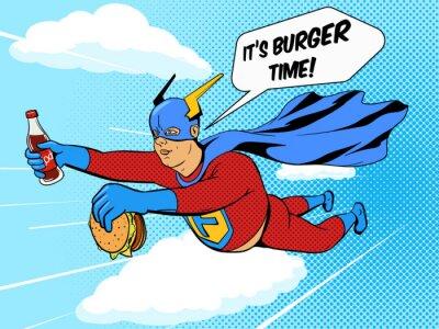 Poster Super-herói, gordo, hamburguer, quadrinhos, livro, vetorial
