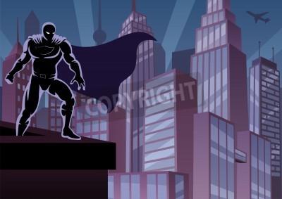 Poster Superhero vigiando a cidade. Nenhuma transparência usada. Gradientes (lineares) básicos. Proporções A4.