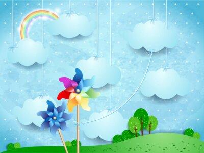 Poster Surreal, paisagem, pinwheels, penduradas, nuvens