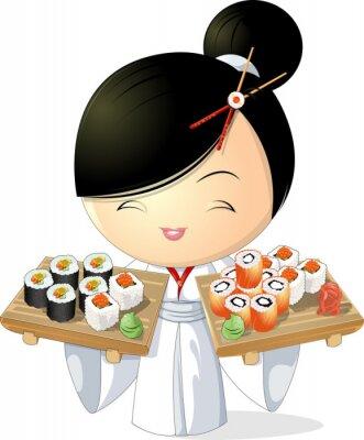 Poster sushi menina