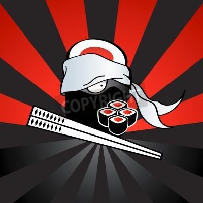 Poster Sushi ninja com perigosas katana-pauzinhos e rolos picantes