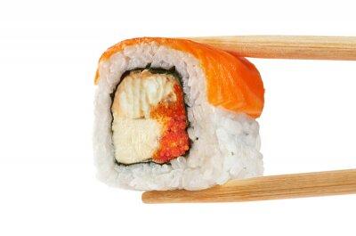 Poster Sushi rola com salmão, enguia, caviar e queijo philadelphia. CH