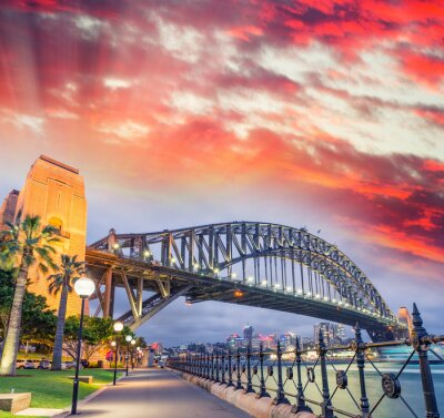 Poster Sydney, porto, ponte, bonito, pôr do sol, NSW - Austrália