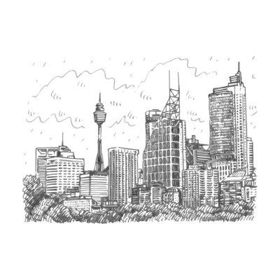 Poster Sydney Torre e vista dos arranha-céus de Sydney, Austrália. Esboço do lápis do freehand do vetor.