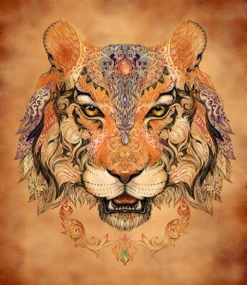 Poster Tattoo, gráficos cabeça de um tigre