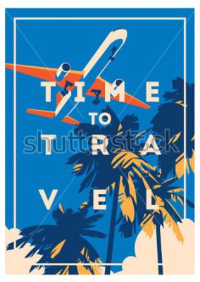 Poster Tempo para viajar e cartaz de férias de verão.