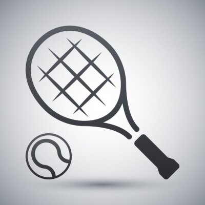 Poster Tênis, raquete, tênis, bola, vetorial, ícone