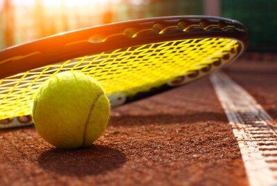 Poster tennis ball on a tennis court