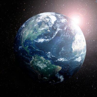 Poster Terra no espaço mostrando Europa, Ásia e África
