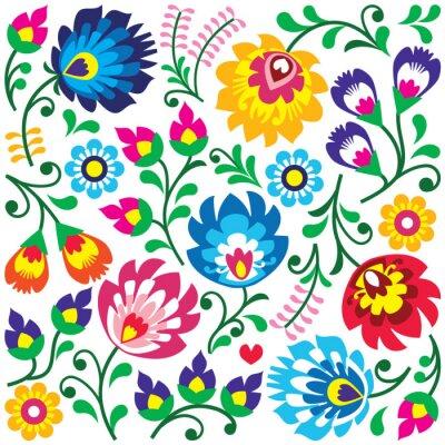 Poster Teste padrão da arte folclórica polonesa Floral na praça - Wycinanki
