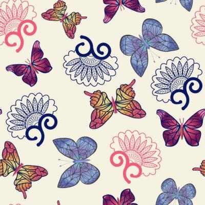 Poster Teste padrão das borboletas do vetor.