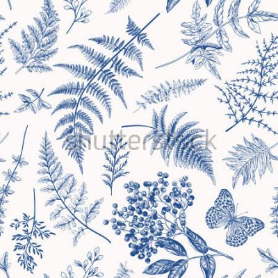 Poster Teste padrão floral sem emenda em estilo vintage. Várias folhas de samambaias, bagas e borboletas. Ilustração botânica de vetor. Azul.