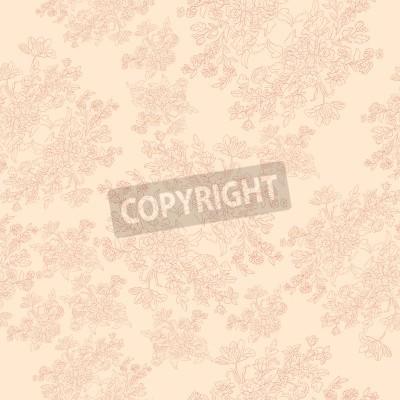 Poster teste padrão retro sem emenda com flores rococó, motivo chique