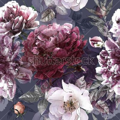 Poster teste padrão sem emenda colorido floral do lápis do vintage da arte com rosas brancas e peônias roxas no fundo. Exposição dupla e efeito Bokeh