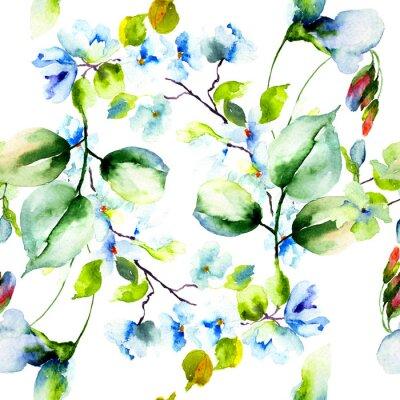 Poster Teste padrão sem emenda com flores da primavera