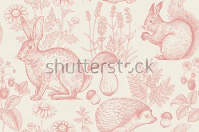 Poster Teste padrão sem fim dos animais e plantas da floresta. Lebre, ouriço, esquilo, morangos silvestres, flores de lavanda, camomila e cogumelos. Desenho à mão. Branco e vermelho. Gravura vintage.