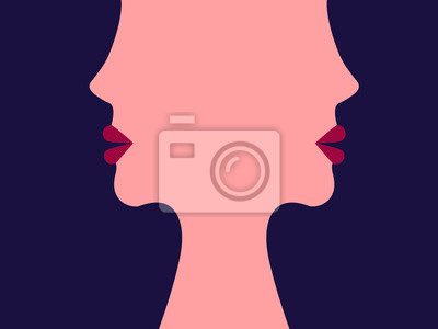 Poster The face of women. The girls. Abstract illustration. Flat style. Minimalism. Illustration for advertising, business cards and printing on t-shirts.