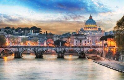 Poster Tiber e Basílica de São Pedro no Vaticano com arco-íris, Roma