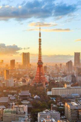 Poster Tokyo skyline da cidade no por do sol em Tóquio