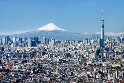 Poster Tokyo Skyline mit und Monte Fuji Skytree