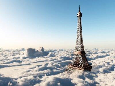 Poster Torre Eiffel acima das nuvens