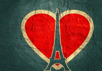 Poster Torre Eiffel em Paris. Silhueta do esboço. Gradiente pano de fundo radiante
