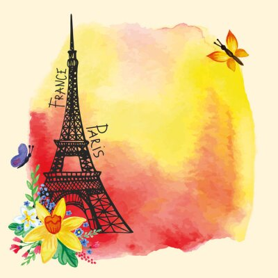 Poster Torre Eiffel, mancha da aguarela, cartão de Narciso bouquet.Paris