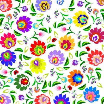 Poster Tradicional polonês padrão floral popular vetor