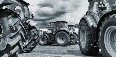 Poster trator agrícola line-ups, arados e máquinas