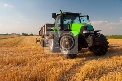 Poster Trator verde moderno no campo durante a colheita agrícola no dia ensolarado de verão