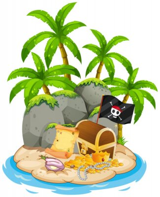 Poster Treasure on island beach scene