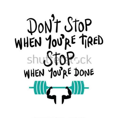 Poster Treino ginásio fitness musculação motivação conceito / design de impressão de vetor