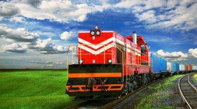 Poster trem de carga com espaço para texto