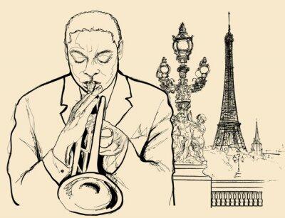 Poster trompetista de jazz em Alexander ponte em Paris (desenho caneta de tinta)