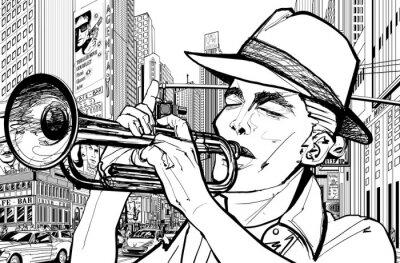 Poster trompetista em nova-iorque