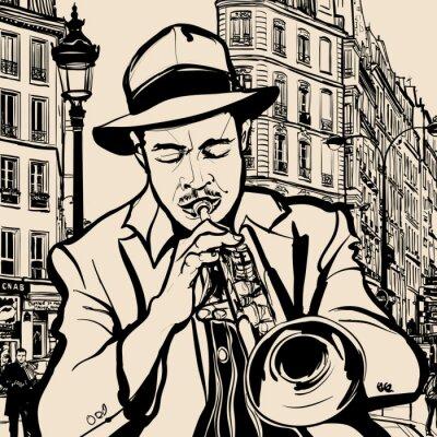 Poster trompetista em um fundo de paisagem urbana