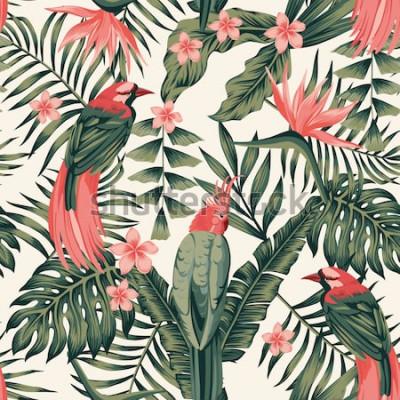 Poster Tropical folhas, flores frangipani, aves do paraíso, cores abstratas de papagaio imagem vetorial realista sem emenda