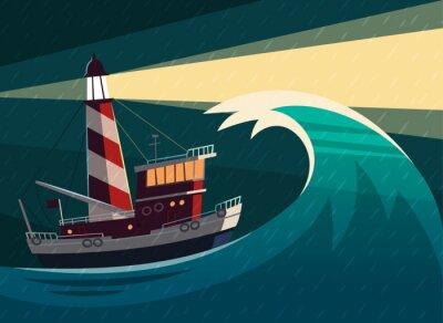 Poster Tugboat durante a tempestade com o farol nele. Ilustração do vetor.