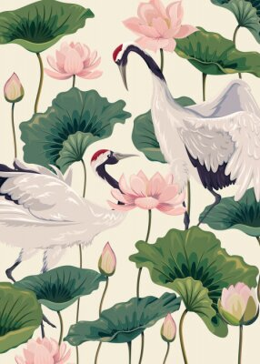 Poster two japanese cranes and pink lotus