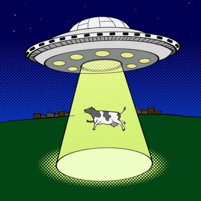 Poster UFO leva vetor de estilo pop art vaca