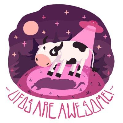 Poster UFOs são impressionantes! (Fundo e cartão) com a vaca no monte e UFO na noite com Lua cheia e estrelas (estilo dos desenhos animados)