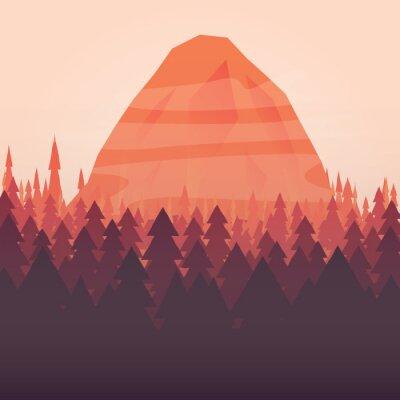 Poster Um fundo da floresta e montanha do sol ilustrado