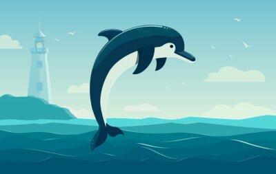 Poster Um golfinho de salto, fundo azul do mar com ondas e farol. Ilustração vetorial