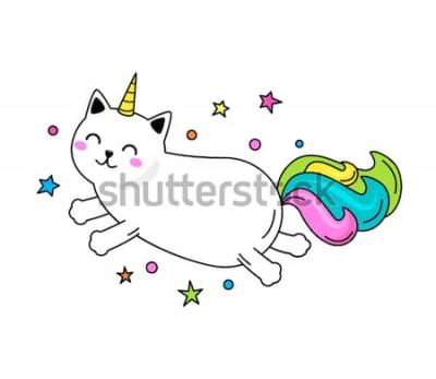 Poster Um personagem engraçado gato unicórnio salta pelo céu. Ilustração vetorial plana