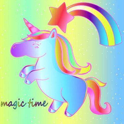 Poster Um unicórnio e um arco-íris em um fundo de néon brilhante é um tempo mágico. Cartaz brilhante de fadas para crianças
